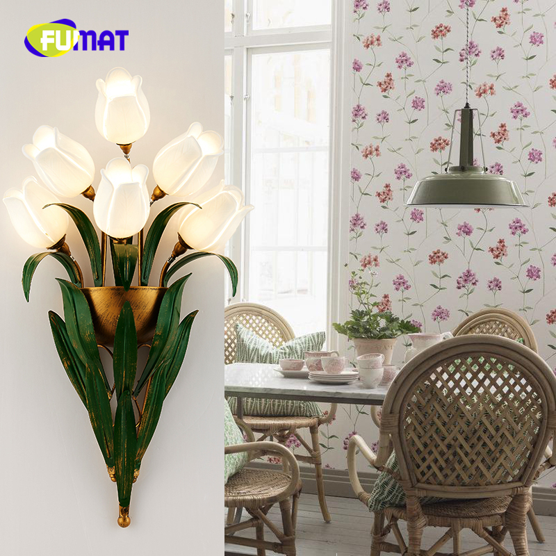 FUMAT European Style Art Decor Flower Wall Sconces Lamp Lighting For Living Room Bedside Modern Brief American Vintage Wall Lamp