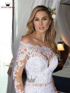 Image 2 - Vestidos de novia de manga larga hechos a medida, sirena, Cuenta de encaje de tul, vestidos de novia formales de lujo, Vestido de novia 2020 WH48
