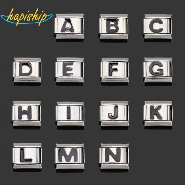 Hapiship 1Pcs 9mm Width Original Daisy Letter A B C D E F G H I J K L M N Charm