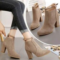 Осень-зима 2019 г. новая обувь тонкие ботинки на высоком каблуке в британском стиле импортные товары на молнии сзади Ботинки martin большого