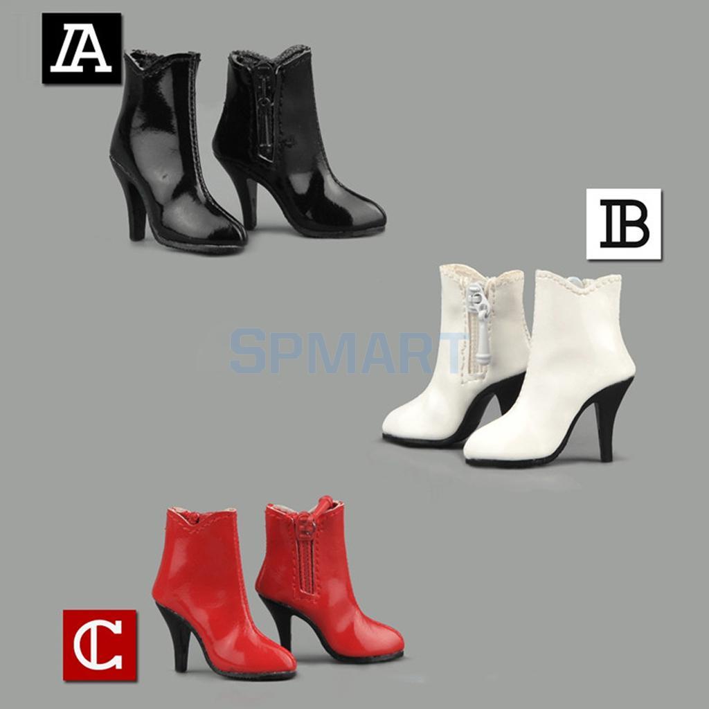 1//6 Scale Black High Heels Platform Shoes 2x 12inch Female Figure Shoes