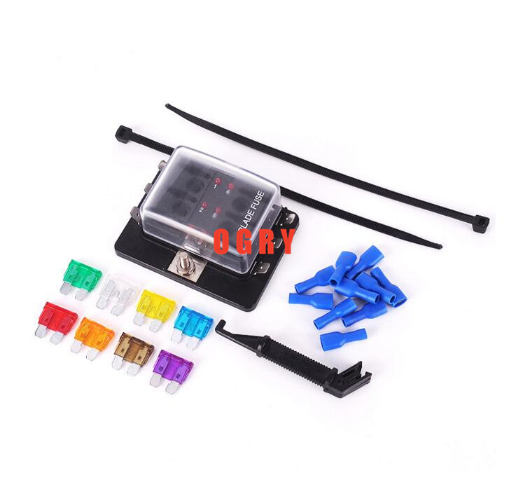 6 way fuse set Terminals Circuit ATC ATO Car Auto Blade Fuse Box Block Holder with 4 pcs fuse,fuse puller and 10 terminals vehicle automotive blade fuse holder with a line of high quality waterproof fuse holder