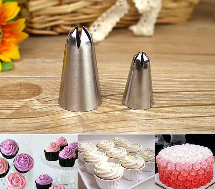 cdd2557b75c25 2 Size Stainless steel seamless Medium decorating mouth 6 -billed 2D wilton  style 2D nozzle tips for cake decoration tool GYH