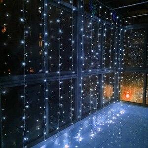 Image 2 - 3X3 متر 300 LED ستار مصابيح جارلاند الجنية جليد سلسلة في الهواء الطلق عطلة عيد الميلاد ديكور الزفاف عيد الميلاد ديكور المنزل