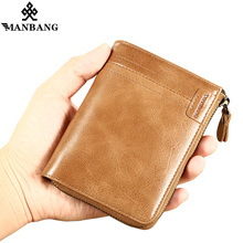 ManBang 2018 New Men Wallet Genuine Leather Card Holder Small  Vintage Zipper&Hasp Wallet Luxury Man Purse Brand Free Shipping