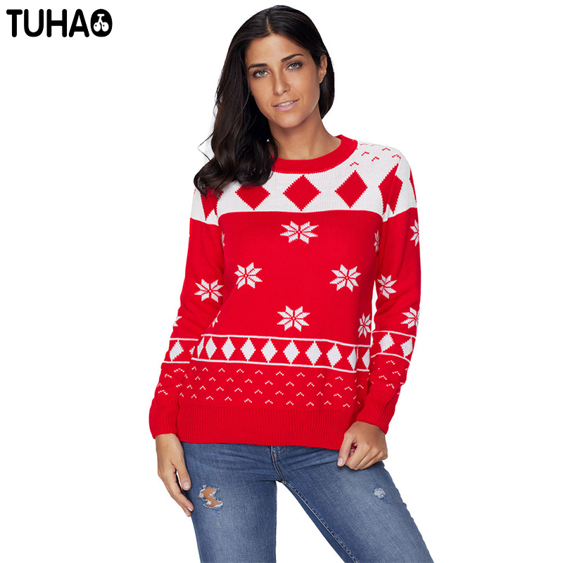 TUHAO Christmas clothing for women sweaters 2018 Autumn Winter Knitted Woman Pullover Long Sleeve Casual Sweater DL63