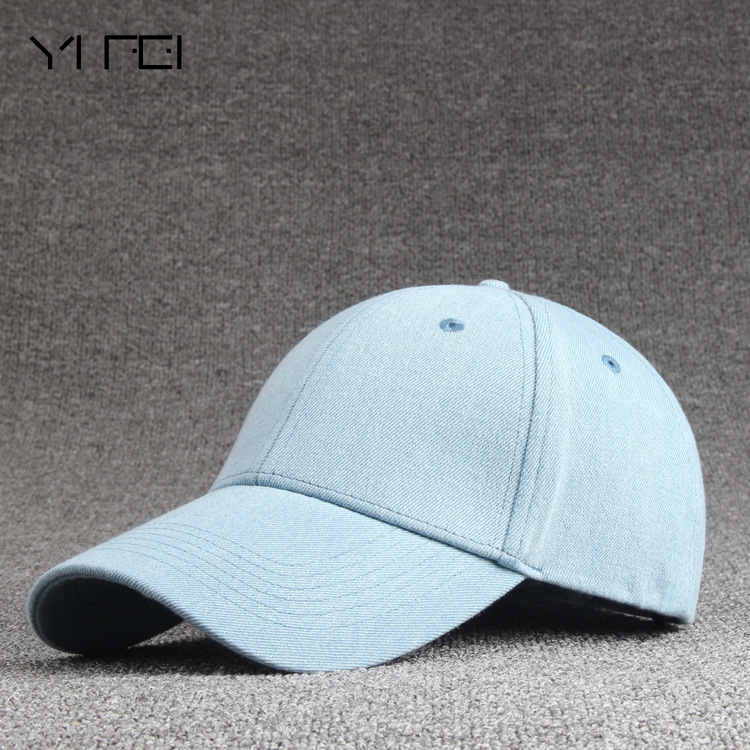 New High quality Solid color cowboy denim unisex women   baseball     cap   men Hat snapback hat Solid color