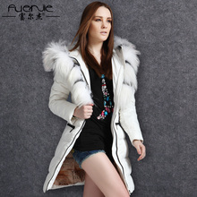 New Fashion Luxury Women Natural Raccoon Fur Coat Slim Long Woman Winter Thickening  White Duck Jacket With Real Fur Collar A307