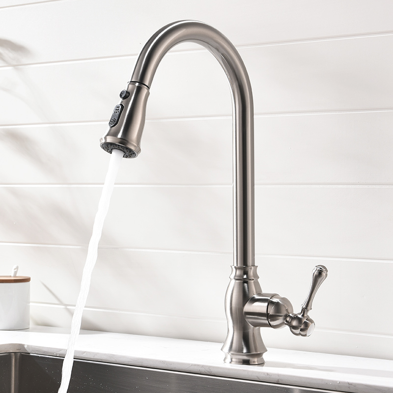 FLG Kitchen Faucets Pull Down Out Brushed Nickel Kitchen Tap New Design Brass Faucets High Quality Sink Mixer Taps 929 33N-in Kitchen Faucets from Home Improvement    2