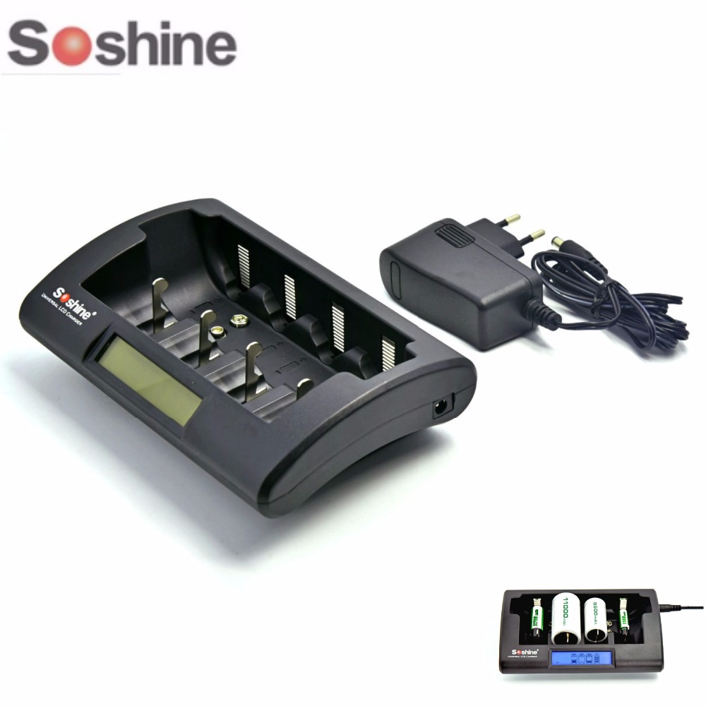 Soshine CD1 Smart Intelligent LCD Display Universal Battery Charger For Rechargeable NiCd NiMh AAA/AA/C/D/9V