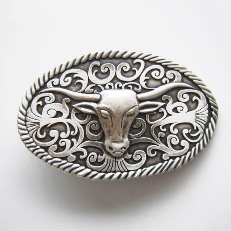 New Classic Vintage Silver Plated Longhorn Bull Western Oval Belt Buckle