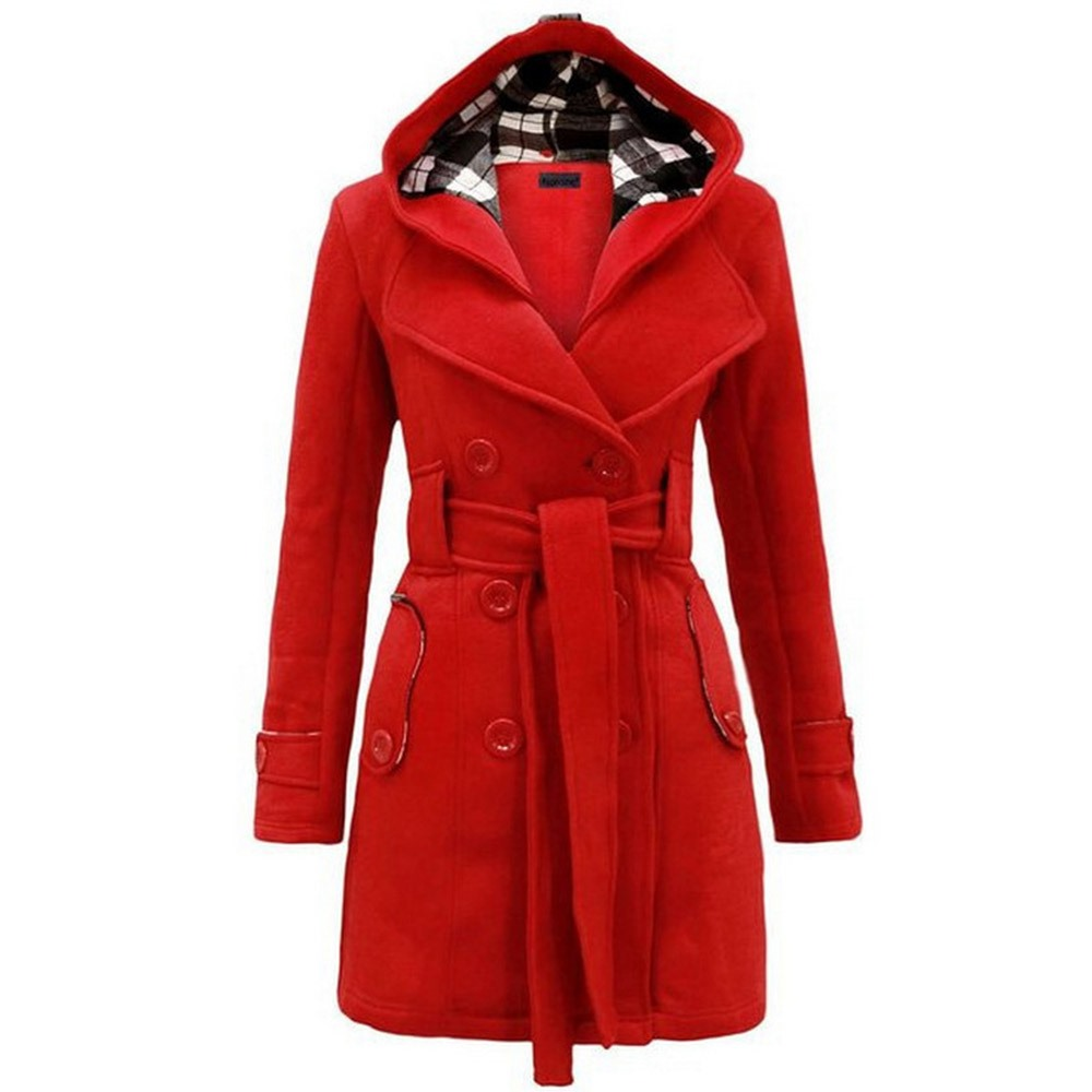 Sisjuly Women Winter Warm Overcoats Hooded 2018 Autumn Elegant Vintage Fashion Office Lady Slim Plain Belt Girls Female Coats