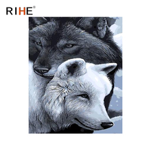 RIHE Wolf Couples Diy Painting By Numbers Animal Oil On Canvas Hand Painted Cuadros Decoracion Acrylic Paint Home Decor