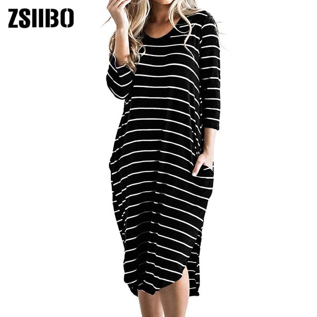 4f8fc037b5c Women T Shirt Dress Oversized Boho Stripes Dress Spring 3/4 Long Sleeves  Dresses drop shipping