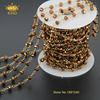 5Meter Lot Fashion Women Antique Titanium Beads Glass Crystal Pendant Necklace Chain Jewelry JD0102
