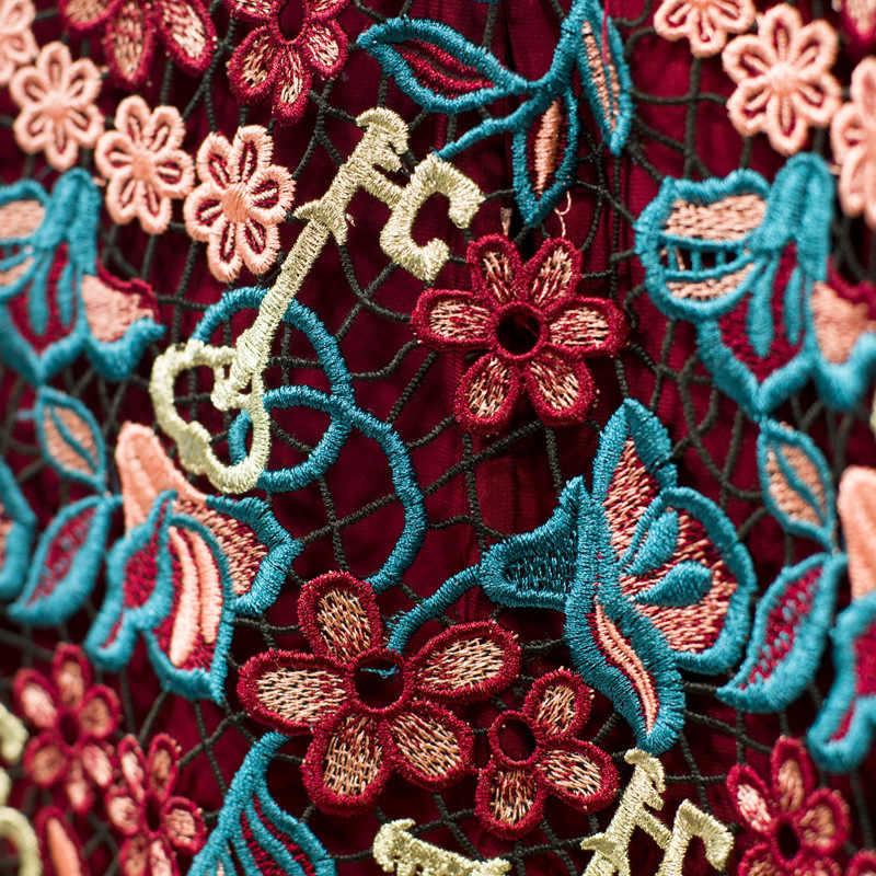Роскошная однотонная красная Цветочная вышивка женская короткая юбка элегантная офисная юбка с панелями пикантная юбка с кружевом высокого качества ropa mujer