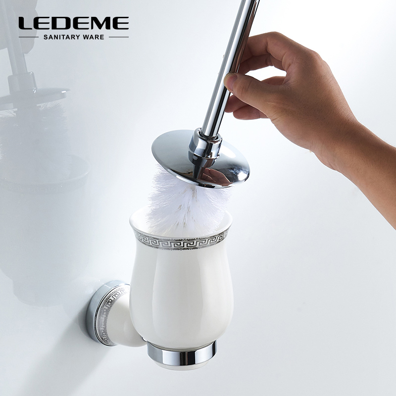 LEDEME Toilet Brush Holders Wall Mount Single Brush Ceramic Cup Holders Silver Toilet Bowl Bathroom Hardware Set L3610 simple bathroom ceramic wash four piece suit cosmetics supply brush cup set gift lo861050