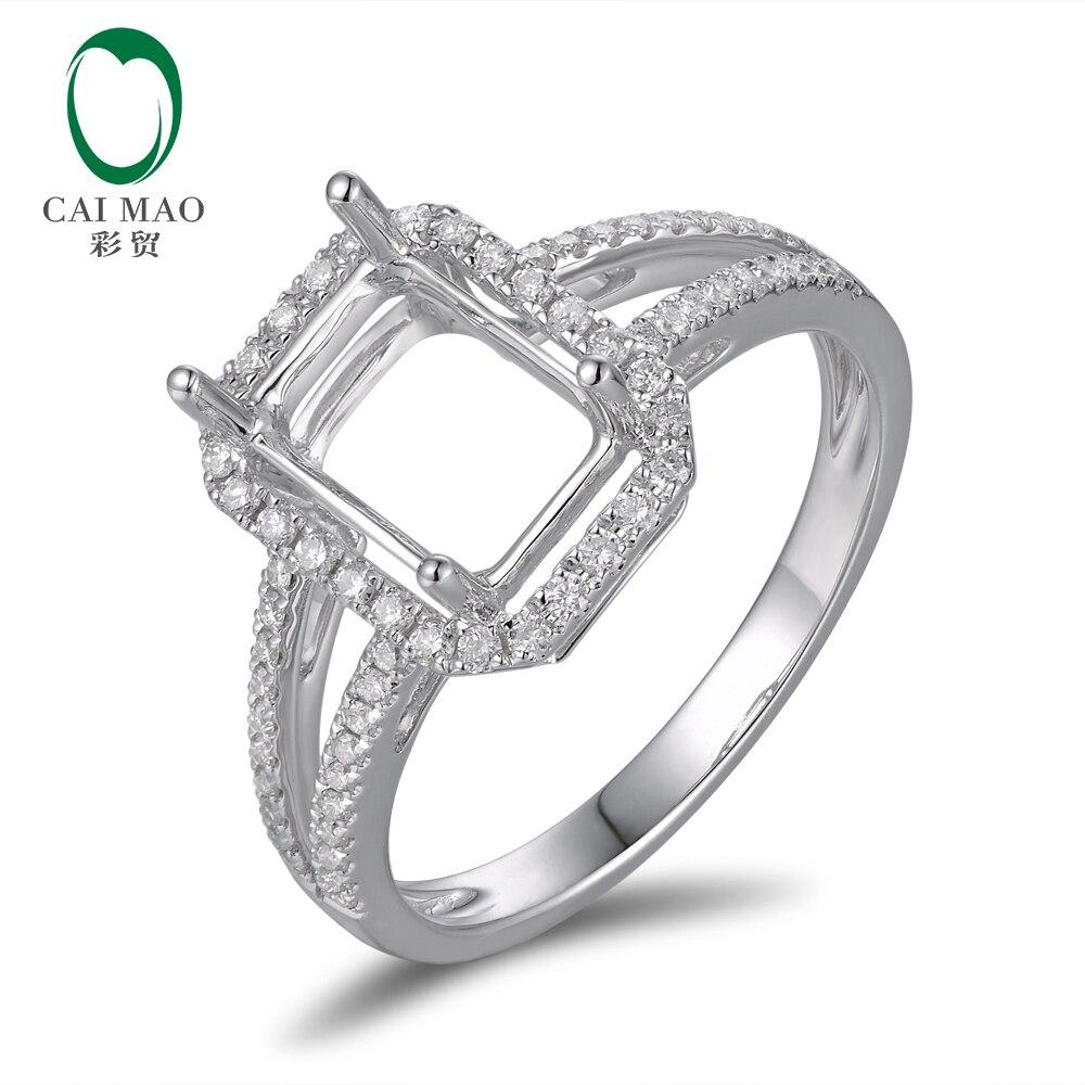10Kt White Gold Diamond Semi Mount Engagement Ring Setting Emerald Cut 6x8mm