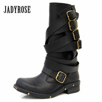 Jady Rose Punk Style Black Women Genuine Leather Mid Calf Boots Rivets Studded Thick Heel Female Long Boots Straps Knight Boot