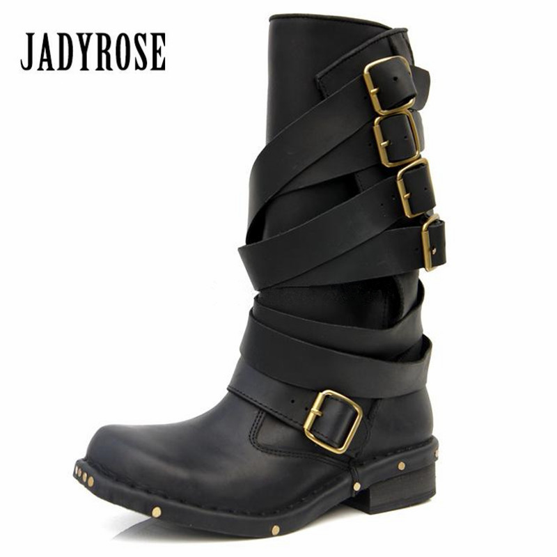 Jady Rose Punk Style Black Women Genuine Leather Mid-Calf Boots Rivets Studded Thick Heel Female Long Boots Straps Knight Boot mabaiwan handmade rivets military cowboy boots mid calf genuine leather women motorcycle boots vintage buckle straps shoes woman
