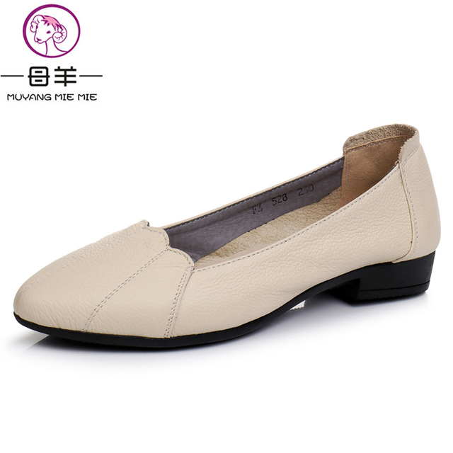 fbc3e57f80a MUYANG Women Shoes Woman Genuine Leather Casual Work Flat Shoes Women  Loafers 2018 Ballet Flats Women Flats Plus Size 35 - 43