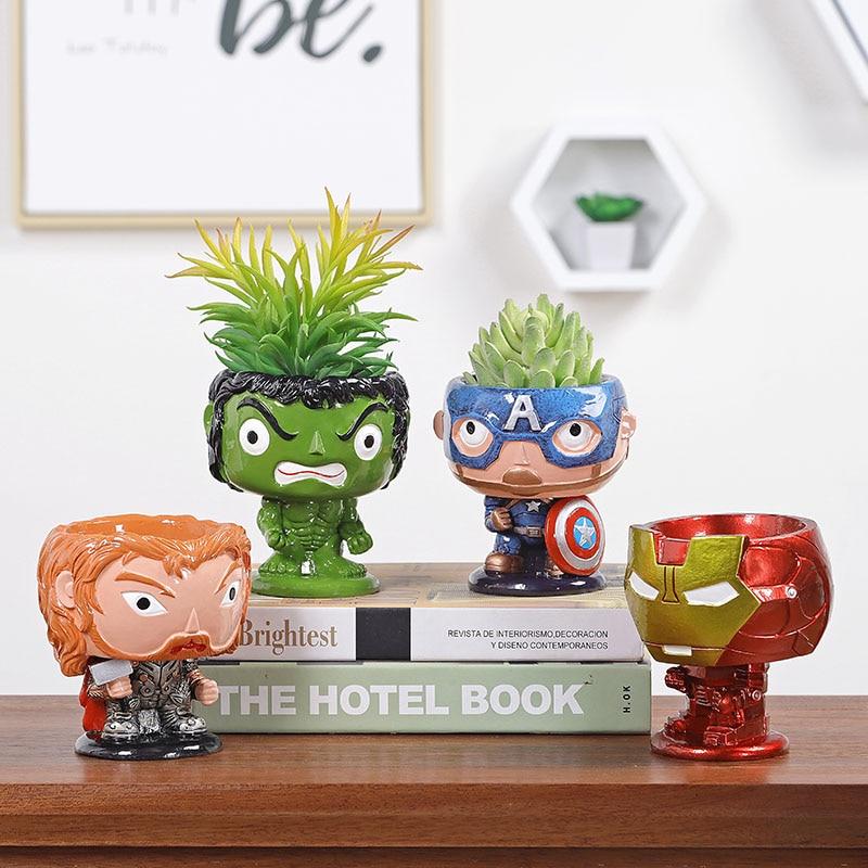 Avengers Vasi Da Fiori Fioriere Capitan America Iron Man Raytheon Hulk Resina Succulente Vaso Da Giardino Multifunzionale Complementi Arredo Casa