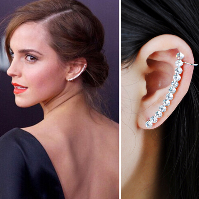 1 Pcs Fashion Elegant Zircon Long Star Clip Earrings With Stud For Women Punk Crystal