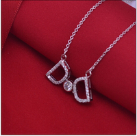 925 Sterling Silver Double D Pendant Necklace 16 2inch Chains Women Necklace For Christmas Gift Free