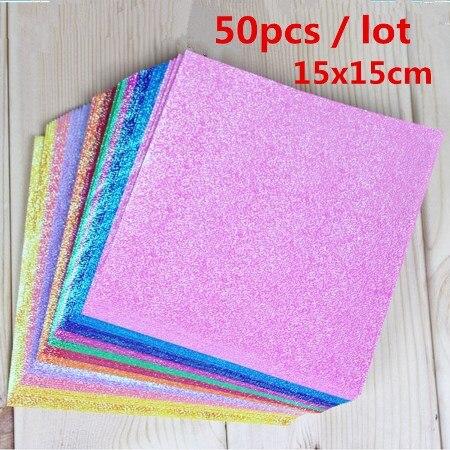 25 шт./лот, 15x15 см, квадратная блестящая бумага для рукоделия, 10 цветов, перламутровая бумага, журавли, оригами, ручная работа для детей, сделай сам - Цвет: 25pcs