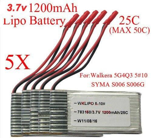 5X 3.7V 1200mAh 25C Lipo Battery RC AKKU for Walkera WKLIPO-5#10 5G4Q3 SYMA S006