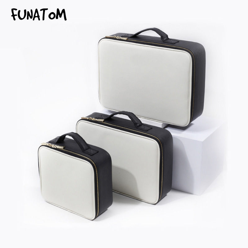 Funatom High Quality Make Up Bag Professional Makeup Case Makeup Organizer Bolso Mujer Cosmetic Case Large Capacity Storage Bag