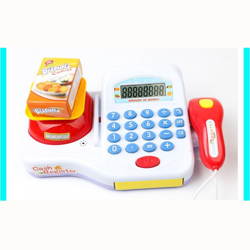 Supermarket Cash Register For Kids Simulation Cash Machine Toys With Calculator and Scanner Children Education Pretend Play Toy