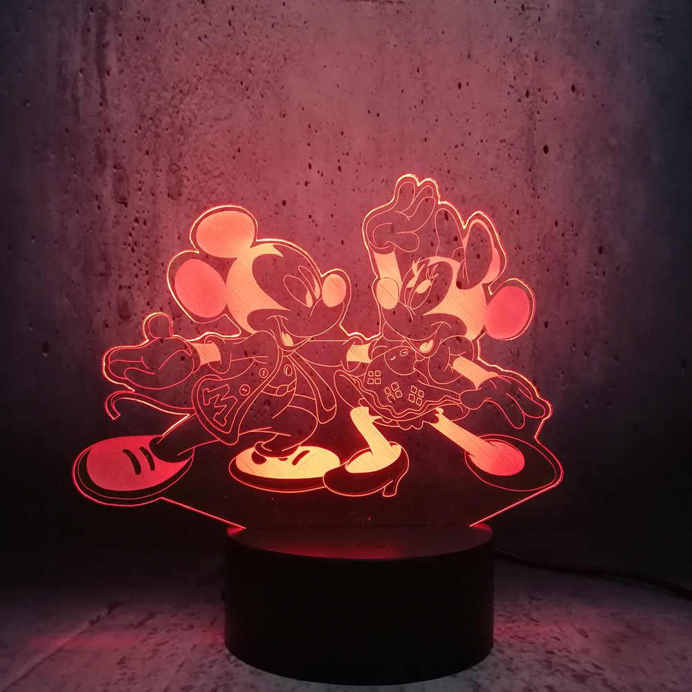 3D Illusion HA CONDOTTO LA Lampada di Mickey Minnie ballando Luce di Notte 7 colori che cambiano Arredamento Della camera Della Ragazza Regalo Del Capretto dei bambini regali di compleanno
