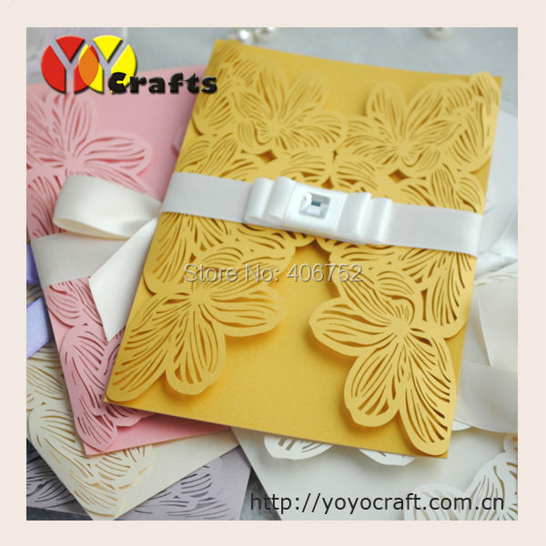 50pcs Lot Whole Gold Wedding Invitations Elegant Laser Cut Paper Card Free Printing