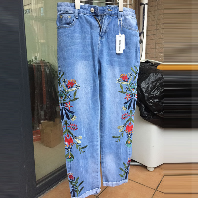 2017 Spring New Korean Style Denim Pants for Women Fashion National Embroidery Trousers Female Casual Slim Ladies Jeans Pants 2017 spring new women sweet floral embroidery pastoralism denim jeans pockets ankle length pants ladies casual trouse top118