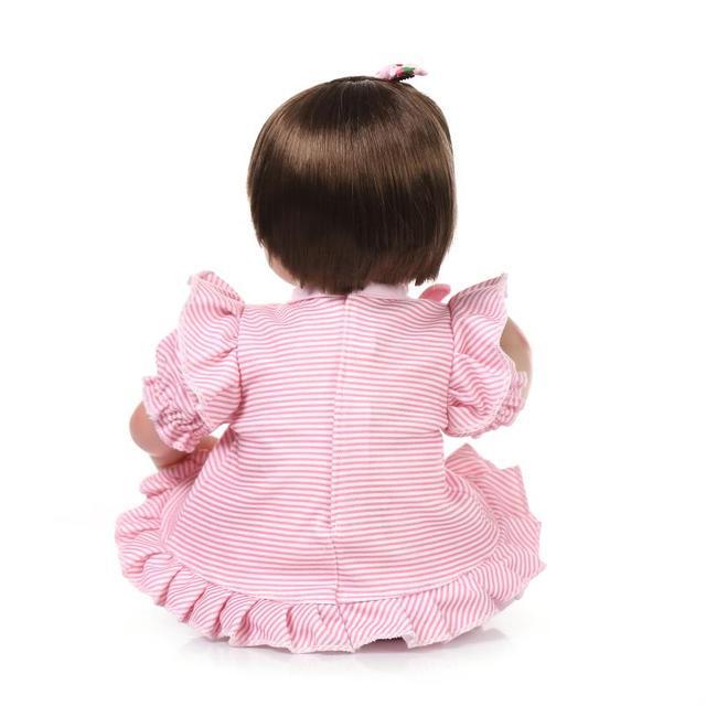 18 Handgemaakte Echte Siliconen Reborn Meisje Poppen Speelgoed Met Roze Kleren Kinderen Gift