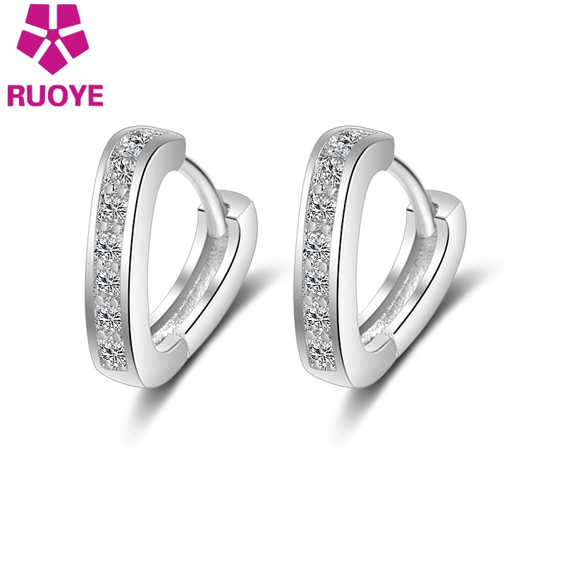 RUOYE Fashion Silver Single Luxury Row Crystal Heart Stud Earrings Jewelry Simple Earring For Women