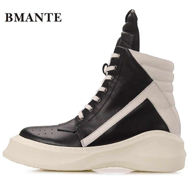 حقيقي أزياء والجلود عارضة الأحذية أحمر أبيض أسود الرجال hightop krasovki تل bambas بيبر السامية التمهيد مدرب حذاء تنس الرجال-في أحذية للدراجات النارية من أحذية على  مجموعة 1