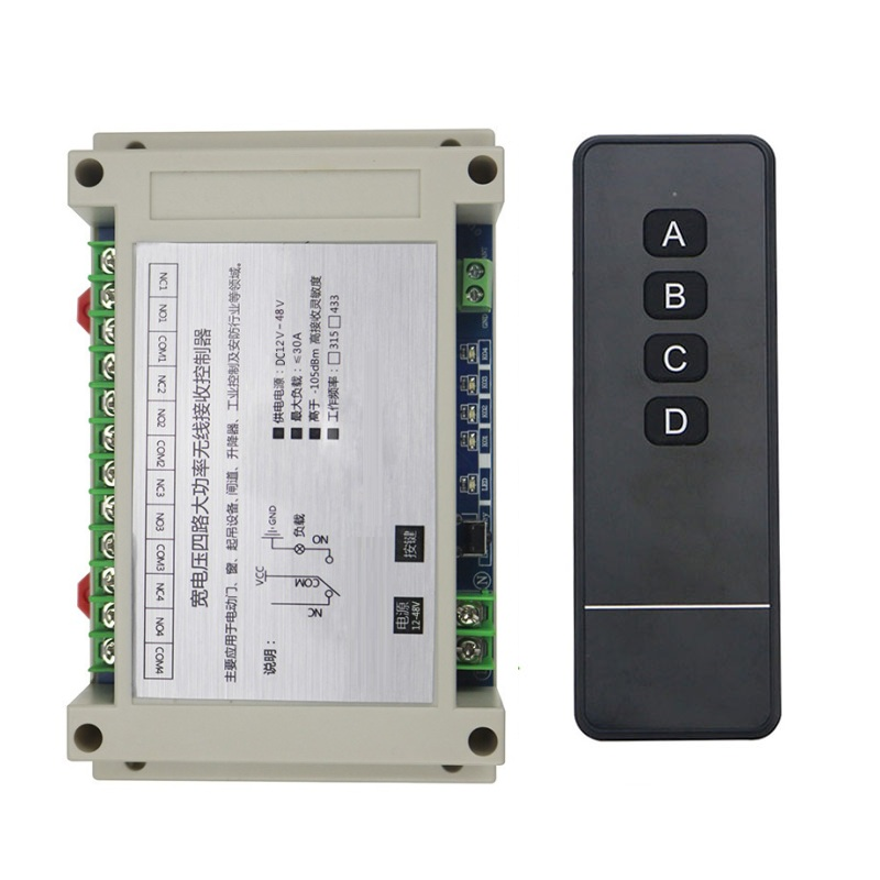Wide voltage 12V 24V 36V 48V  4CH 30A long distance RF Wireless Remote Control Switch  Learning Code Momentary Toggle Latched 220 v 10 a 15ch wireless remote control switch each ch is independent learning code toggle momentary led on off wireless switch