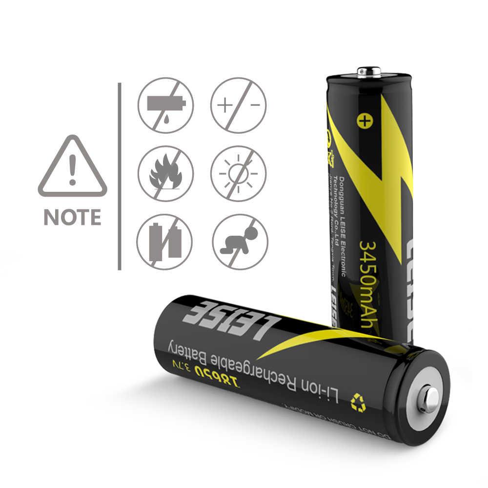 Leise 18650 3450mah のリチウム充電式 3.7V リチウムイオン電池 Leise オリジナル 18650 バッテリー銀行懐中電灯ヘッドランプ