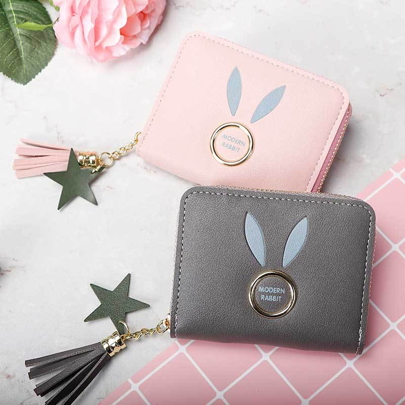 Bunny wallet short Korean tassel zipper change female wrist mobile phone bag card holder in Coin Purses from Luggage Bags