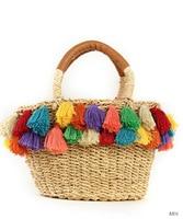 2019 Handmade High Quality Original Solid Color Women Straw Beach Bag Tote with Tassel Hand Bag