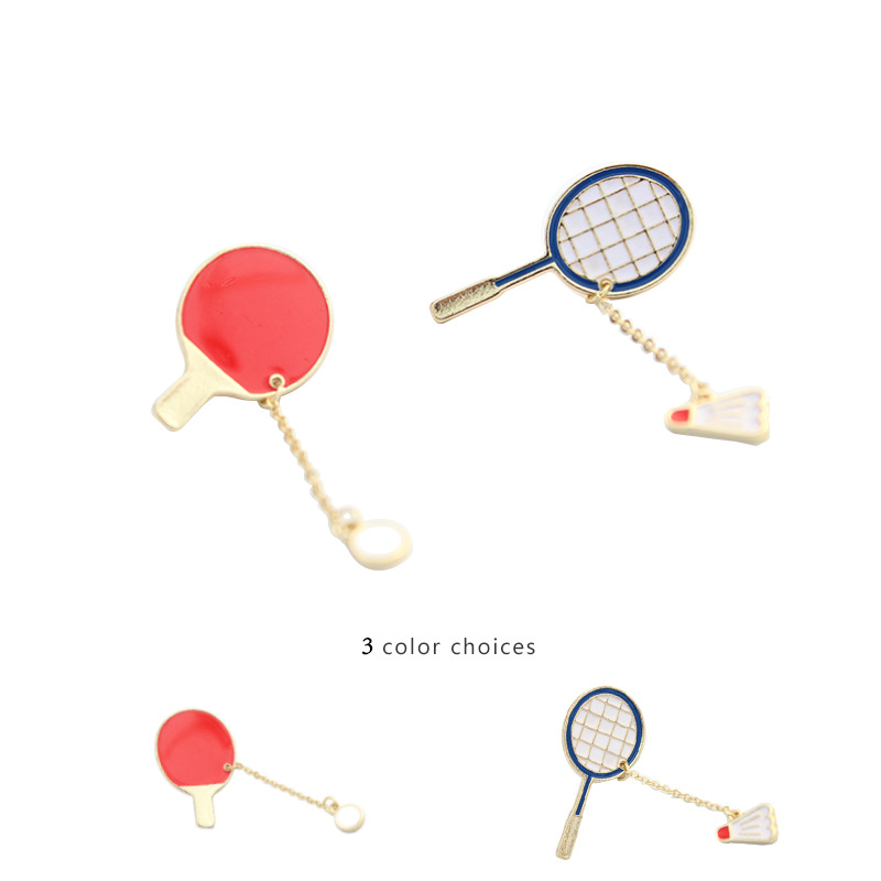 badminton table tennis cartoon jewelry brooch flower Chain pendant for sports fan