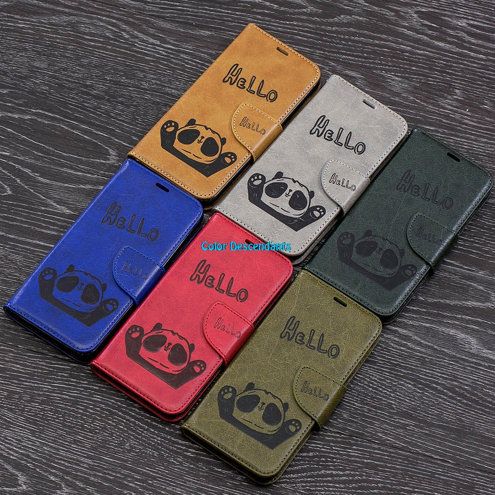 For Samsung Galaxy A6 2018 3D Small Panda Leather Wallet Flip Cover sFor Samsung Galaxy A 6 A6 Plus 2018 A6+ A6Plus Phone Cases