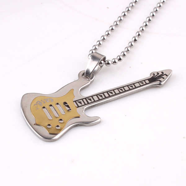 free shipping gold color Carving guitar pendant necklaces bead chain for men women 316L Stainless Steel necklace wholesale