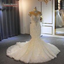 Vestido de boda de 2019 completa sirena Cordón de lujo vestido de ... 36427e39aca7
