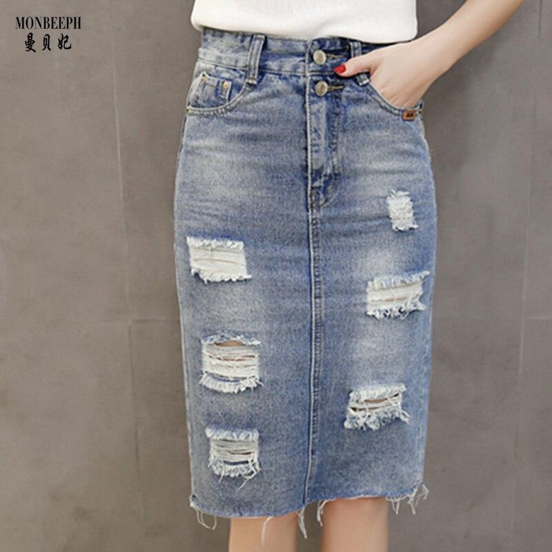 Тонкий джинс юбка
