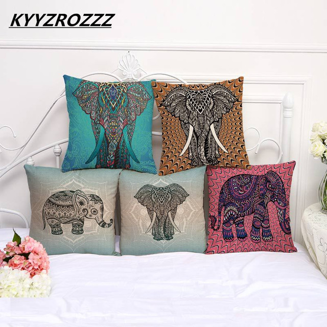 Cute Colorful India Elephant Pillowcase Pillow Cover Cotton Linen