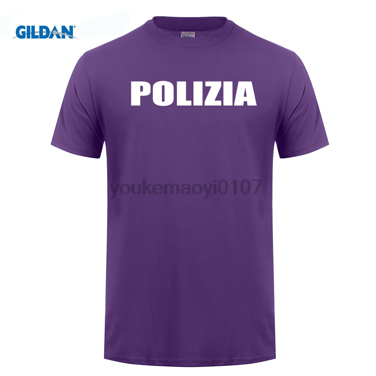 GILDAN T-Shirt Shop Short Sleeve Printing Machine O-Neck Mens Polizia Italian State Italy Novelty Fun T Shirts