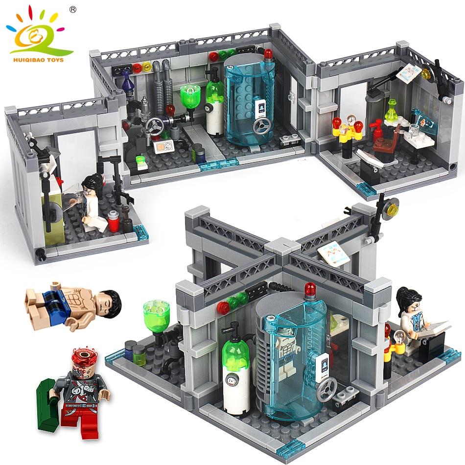Stadt Polizei Biochemischen Labor Serie Bausteine Kompatibel Legoing technik klassische Figuren Erleuchten ziegel spielzeug für Kinder